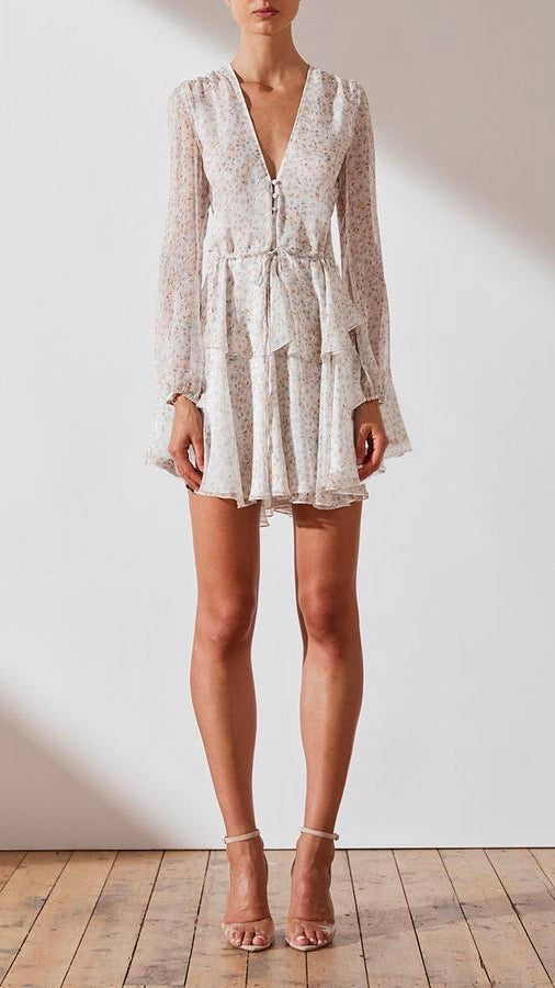 Shona Joy Garner Drawstring Mini Dress in Ivory