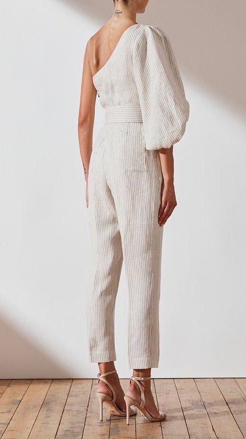 Shona Joy Shaw Linen One Shoulder Jumpsuit
