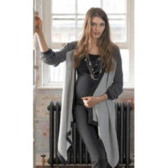 maternity nursing cardigan waterfall effect wrap grey