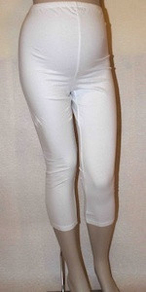 Anne, Maternity White 3/4 Jersey Stretchy Cropped Leggings