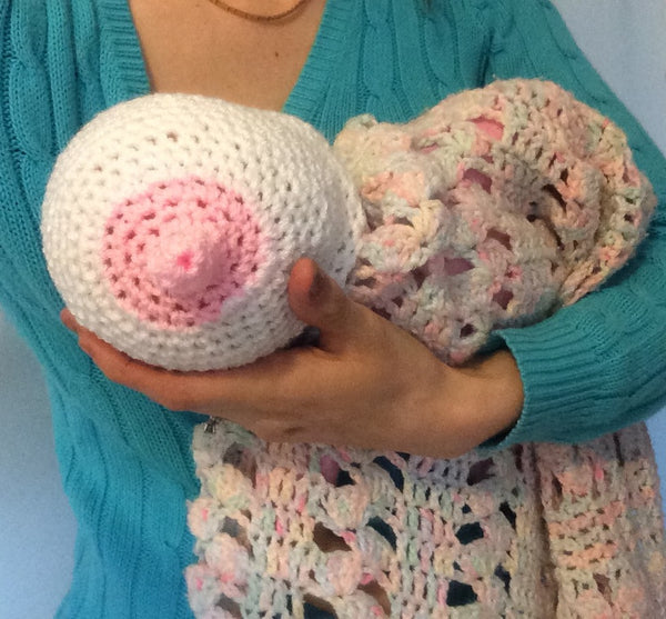 baby boobie breast feeding hat hand crocheted