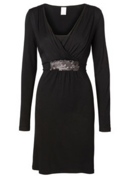 Maternity & Nursing Long Sleeved Black Knee Length Dress