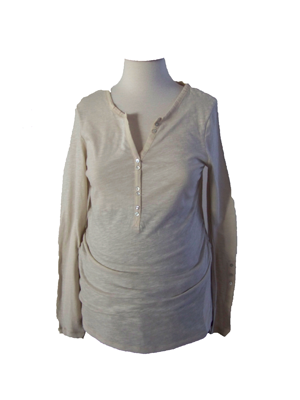 Beige Maternity Long Length Button-Up Sleeve Jersey 100% Cotton Top XL