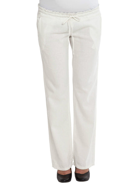 Winnie, Maternity Linen Cream/Ivory Loose Trousers