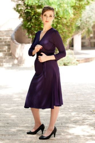 Moran Purple Maternity & Nursing Eco Friendly Dress