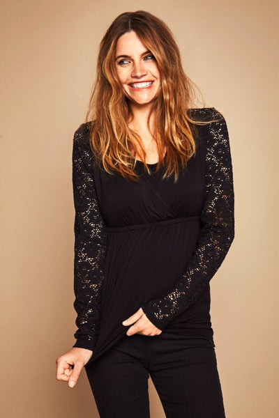 Long Sleeve Beautiful Black Lace Maternity & Nursing Top