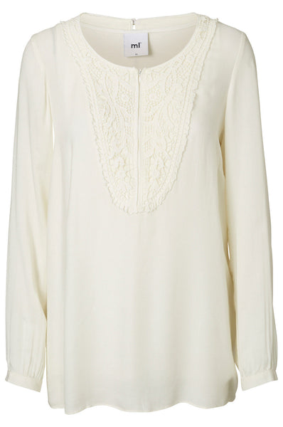 Maternity & Nursing Long Sleeve Cream Top, Lia Lace