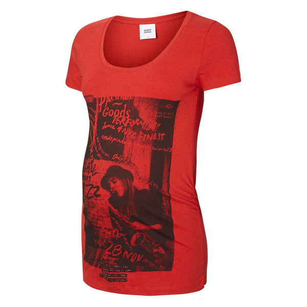 Red Graphic Longer Short Sleeve Maternity T-Shirt 100% Cotton