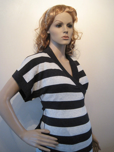 Maternity Black & White Striped Knitted Wrap Cardigan Top