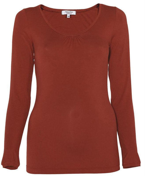Maternity Red Long Sleeve Longer Length Round Neck Top