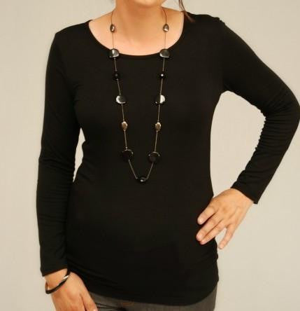 Long Sleeve Black Maternity Round Neck Top