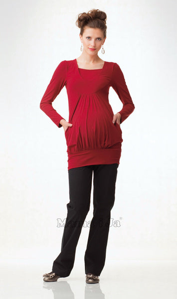 Bridget, Maternity Tunic Long Length, Long Sleeve Red Top