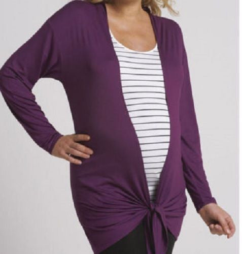 Magenta/Purple Maternity Waterfall Cardigan