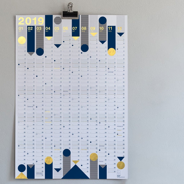 2019 wall calendar - gold foilLollipop Designs- Cachette