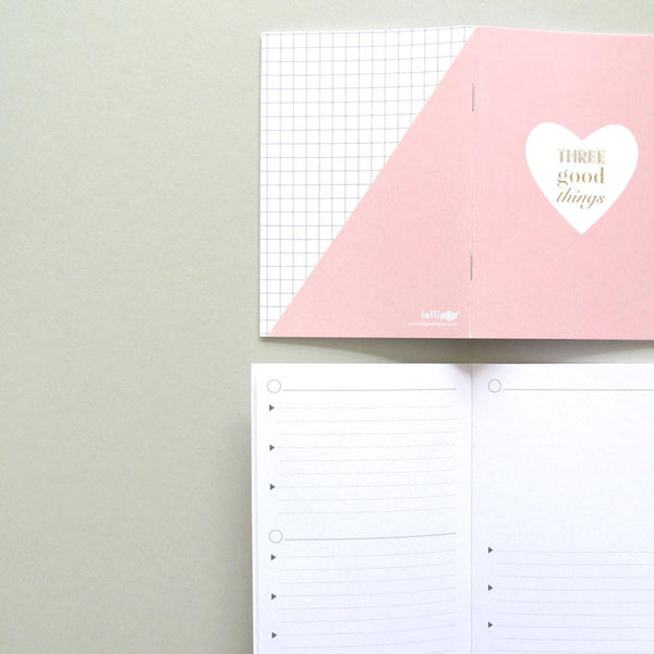 Three good things notebook (pink)
