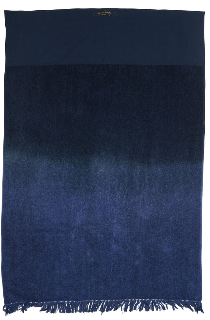 Fringed bath towel indigo 100x150