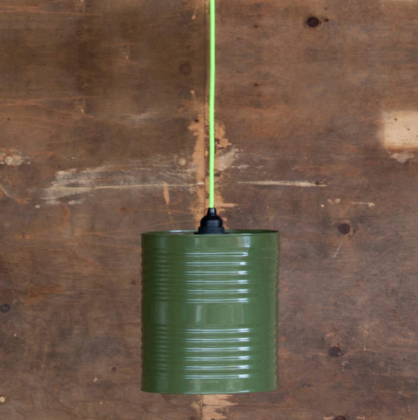 Recycled can suspension light in greenRescued- Cachette
