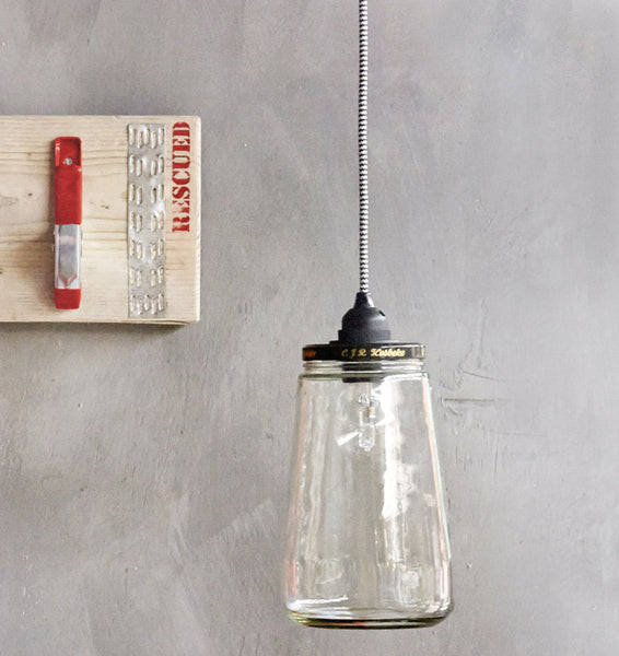 Recycled pickle jar suspension lightRescued- Cachette
