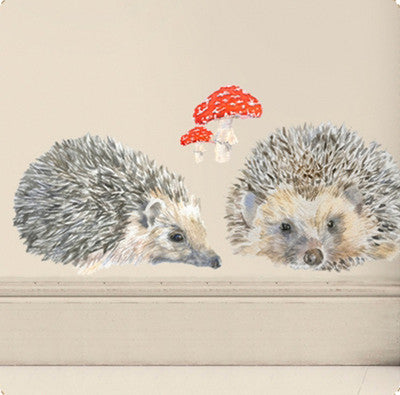 Family of 3 hedgehogs and toadstool wall sticker 79 x 21.5cmChocovenyl- Cachette