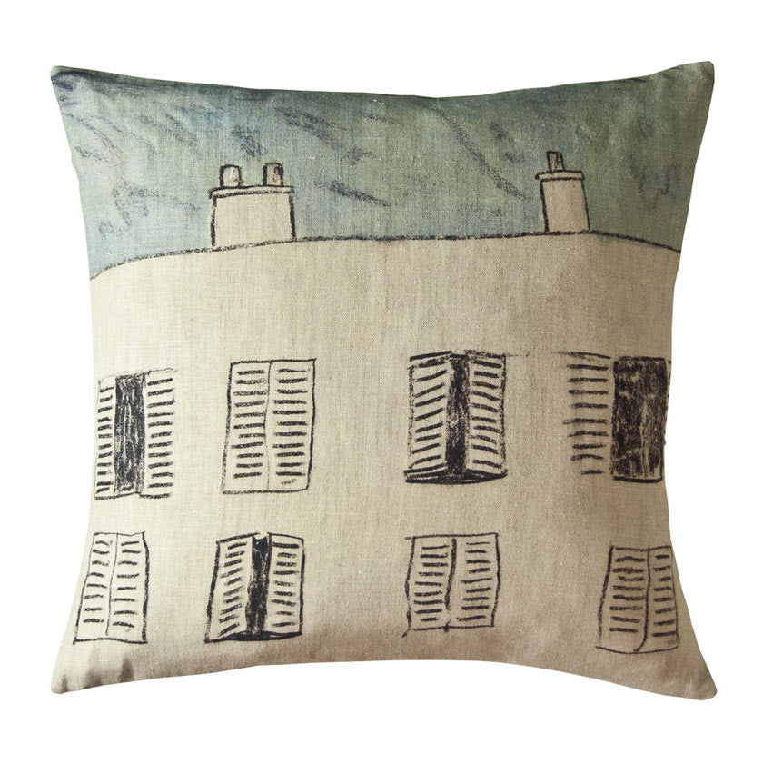 Fenetres linen cushion cover square (2 sizes inner available)Maison Lévy- Cachette