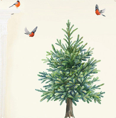Fir tree (84cm) and birds wall stickersChocovenyl- Cachette