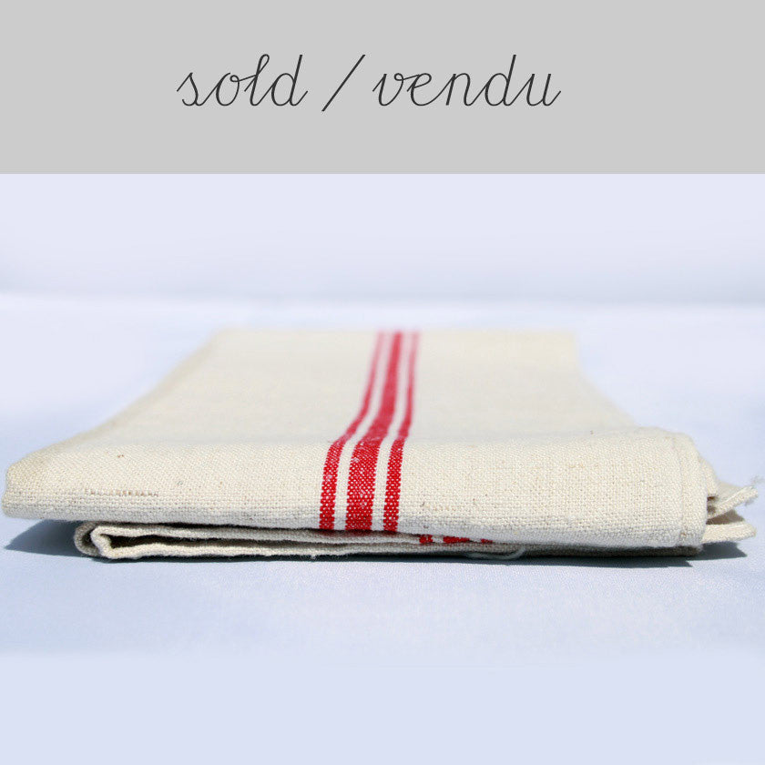 French linen tea towel (SOLD)Vintage- Cachette