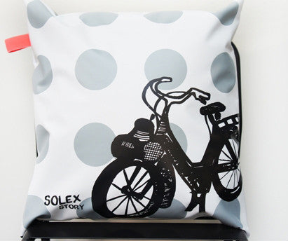 Fun pvc cushion cover with solex designpetit m- Cachette