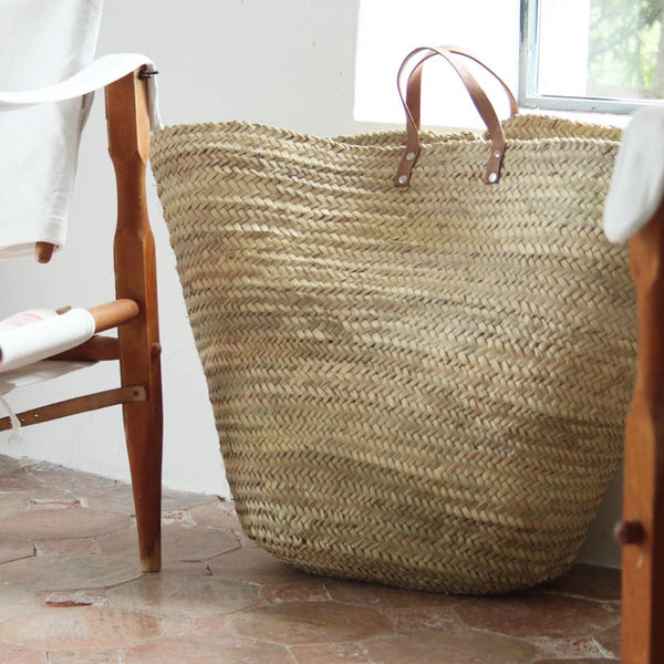 Giant straw basket with leather handles