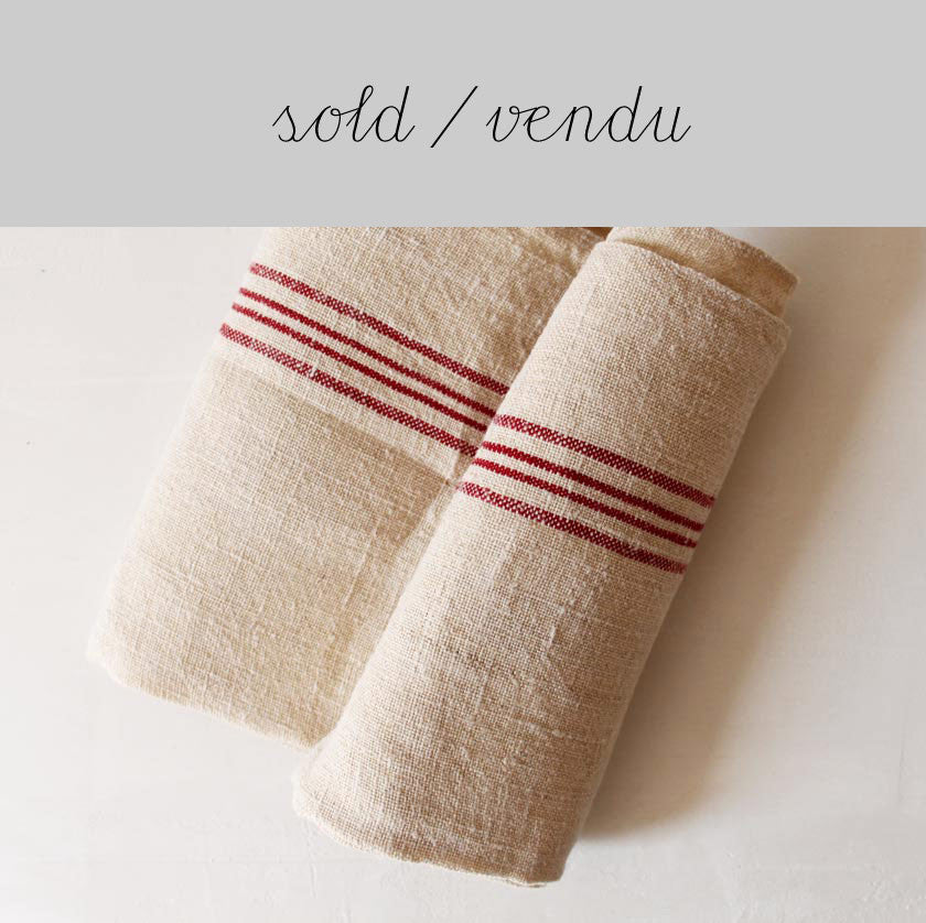 Hemp tea towel red stripes (SOLD)Vintage- Cachette