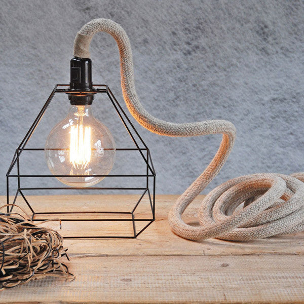 Metal cage lamp with 3cm thick linen cableUn esprit en plus- Cachette