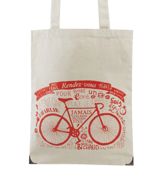 "Organic cotton tote bag ""Rendez-vous"" in redJovens- Cachette"