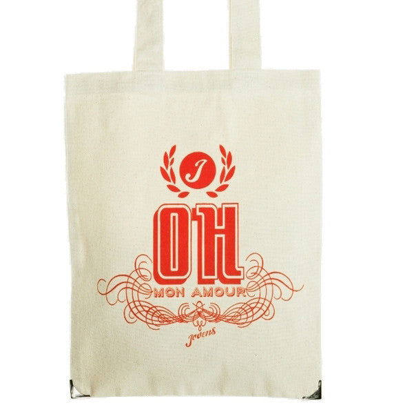 "Organic cotton tote bag ""Oh mon amour"" in redJovens- Cachette"