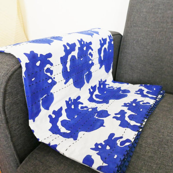 Block printed cotton throw 180x110cmDatcha- Cachette
