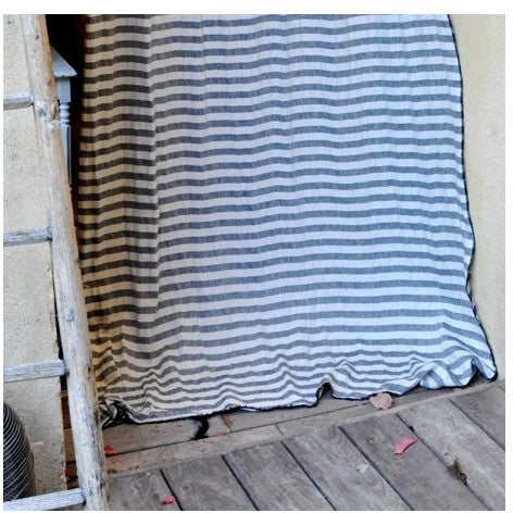 Pure linen sheet for curtain, throw or tablecloth with large stripesVDJ- Cachette