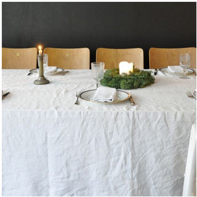 Pure linen sheet in white for curtain, throw or tableclothVDJ- Cachette