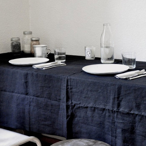 Pure linen sheet for curtain, throw or tablecloth in blackVDJ- Cachette