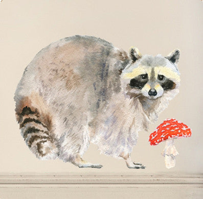 Raccoon and toadstool wall sticker 40 x 30cm