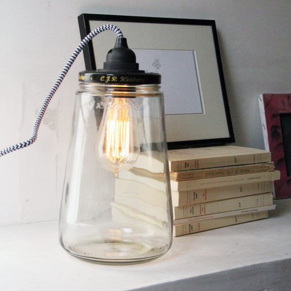 Recycled pickle jar lamp with plug
