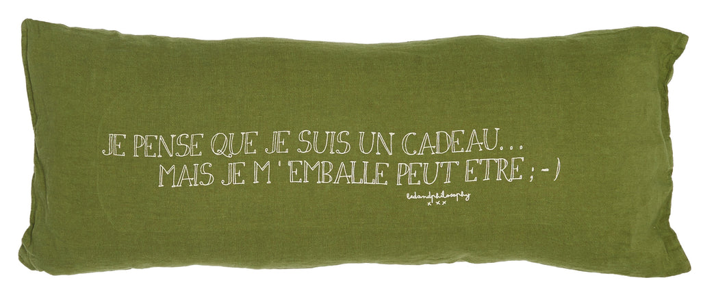Long and thin linen cushion 30x70cm with print (various models)bed and philosophy- Cachette