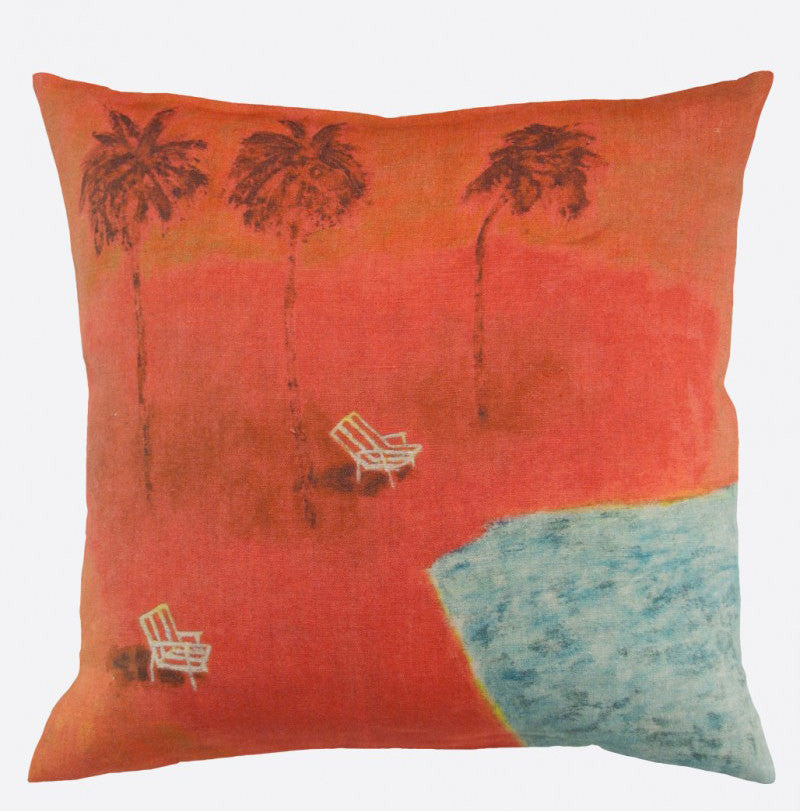Sous les cocotiers linen cushion cover (2 sizes and inner option available)Maison Lévy- Cachette