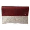 Beige and burgundy merino wool felt and leather ipad pouch (3 sizes)Twen- Cachette