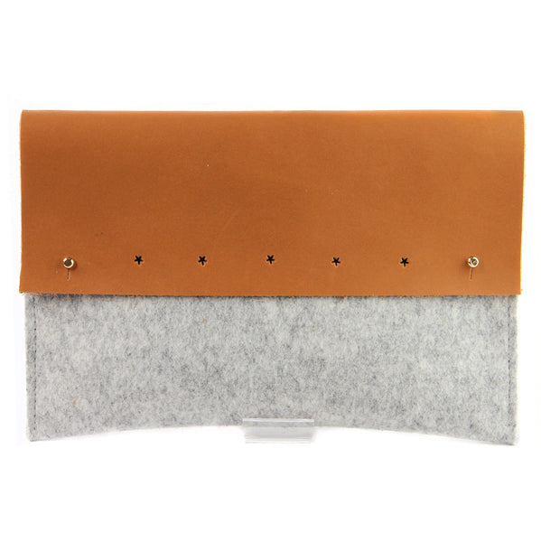 Beige and camel merino wool felt and leather ipad pouch (3 sizes)Twen- Cachette