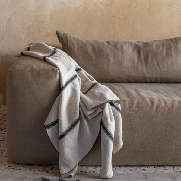 Linen and wool throw 100x200cm