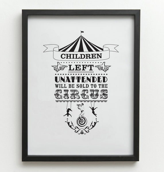 Print Children unattended... 30x40cm or 50x70cmone must dash- Cachette