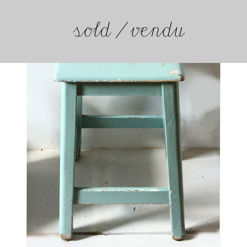 aqua blue-green wooden stool (SOLD)Vintage- Cachette
