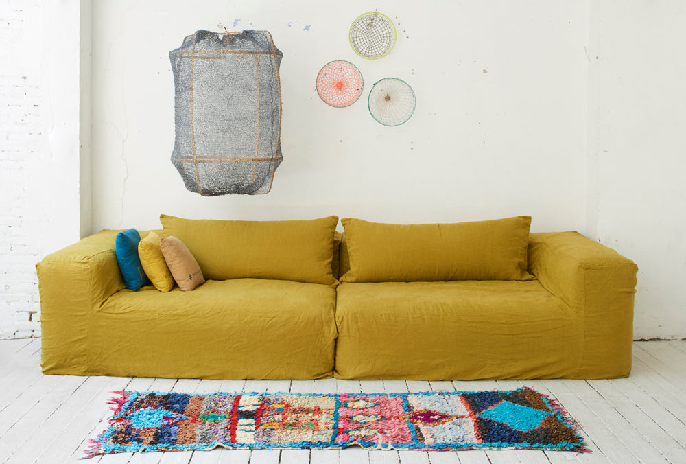 4 seater linen sofa 300cmbed and philosophy- Cachette