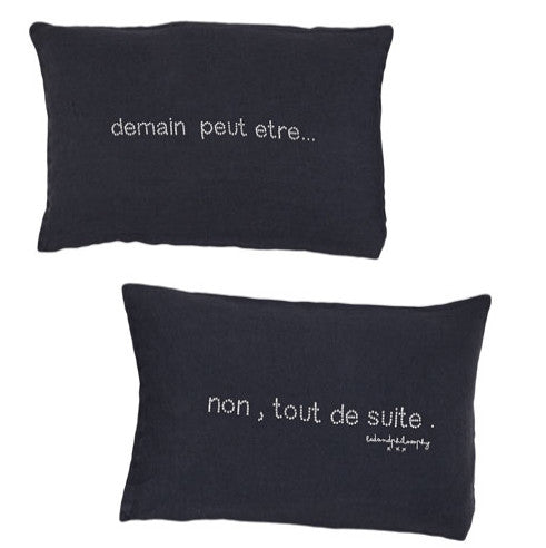 "Pair of linen cushions ""demain peut-être..."" (13 colours available)bed and philosophy- Cachette"