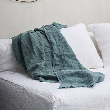 Fringed linen throw 150x180cm (new colours are in)bed and philosophy- Cachette