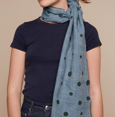 Blue wool scarf 35x180cm with green dots