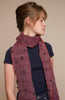 Purple wool scarf 35x180cm with kaki dots